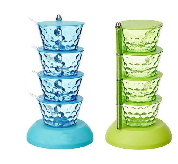 2141 4 in 1 Multipurpose 360 Degree Rotating Pickle Rack Container for Kitchen - Bulkysellers.com