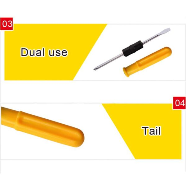 0600 Mini Pocket Size 2 in 1 Slotted Cross Head Double Sided Flat Magnetic Screwdriver with PVC Plastic Coated Handle - Bulkysellers.com