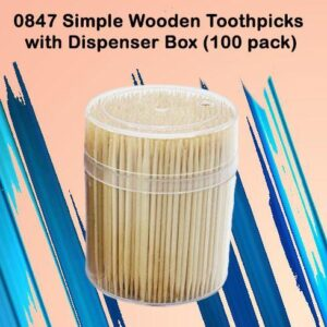 0847 Simple Wooden Toothpicks with Dispenser Box (100 pack) - Bulkysellers.com