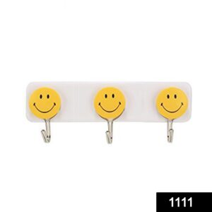 1111 Self Adhesive Smiley Face Wall Hooks (Pack of 3) - Bulkysellers.com