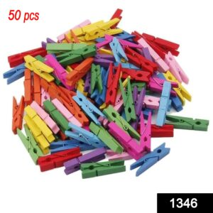 1346 Wooden Clips for Photo Hanging & Home Decoration Pin Clips (Pack of 50) - Bulkysellers.com