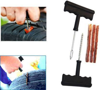 1513 Puncture Repair Kit Tubeless Tyre Full Set with Nose Pliers, Rubber Cement and Extra Strips for Cars, Bikes - Bulkysellers.com