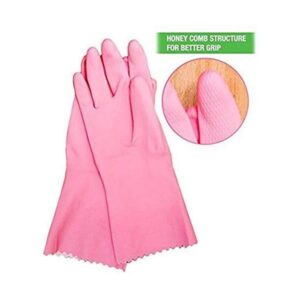 0655 - Cut Glove Reusable Rubber Hand Gloves (Pink ) - 1 pc - Bulkysellers.com