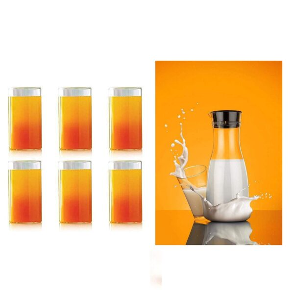 0076_Transparent Unbreakable Water Juicy Jug and 6 Pcs. Glass Combo Set for Dining Table Office Restaurant Pitcher - Bulkysellers.com