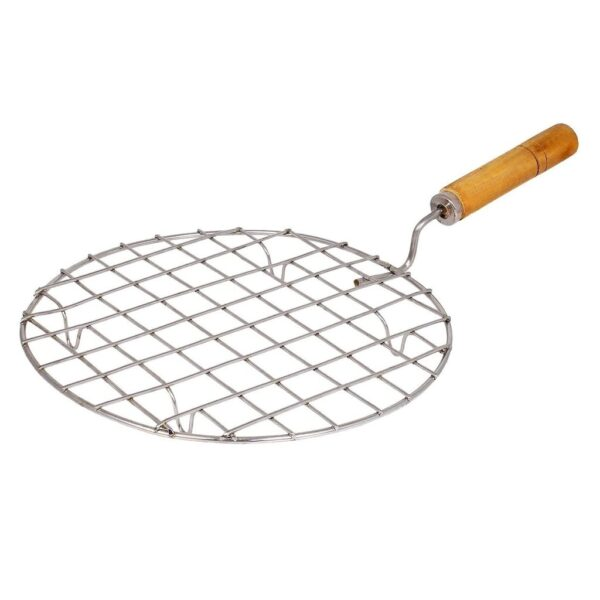 2085 Kitchen Round Stainless Steel Roaster Papad Jali, Barbecue Grill with Wooden Handle - Bulkysellers.com