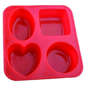 0773 Silicone Circle, Square, Oval and Heart Shape Soap And Mini Cake Making Mould - Bulkysellers.com