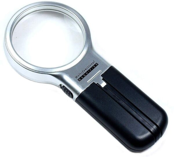 0528 Multifunctional 3-in-1 Hand-Held Folding Lighted High-Powered Magnifier Glass with 3X Zoom and 2 LED Lights - Bulkysellers.com