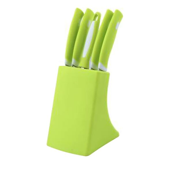 2211 Stainless Steel Knife & Peeler Set with Stand - 6 Pcs - Bulkysellers.com