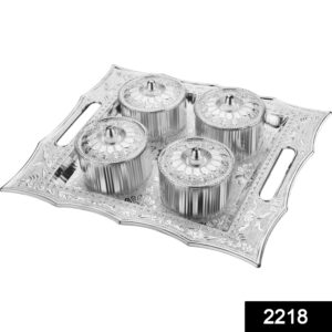 2218 Dry Fruit Air Tight Bowls Tray with Lids 4 Section Snacks Mukhvas Dani - Bulkysellers.com