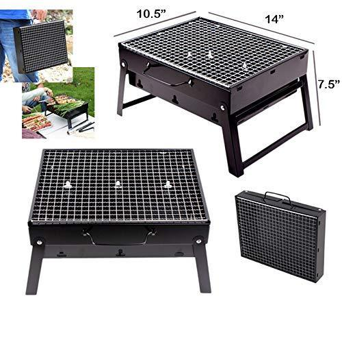0126 Folding Barbeque Charcoal Grill Oven (Black, Carbon Steel) - Bulkysellers.com