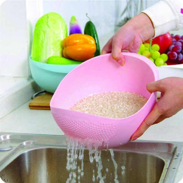 0108 Kitchen Plastic big Rice Bowl Strainer Perfect Size for Storing and Straining - Bulkysellers.com