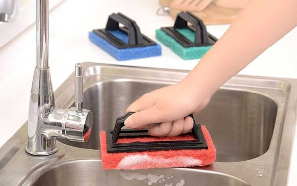 0222 Tile cleaning multipurpose scrubber Brush with handle - Bulkysellers.com