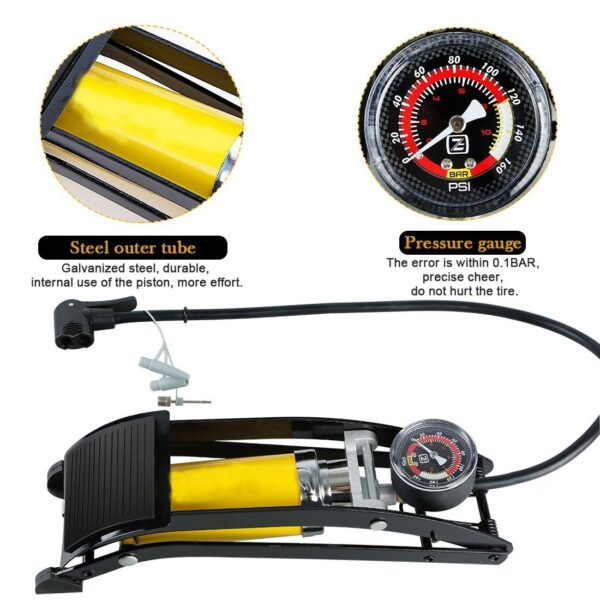0532 Portable High Pressure Tire 116 psi Air Pump Foot Inflator with Gauge - Bulkysellers.com