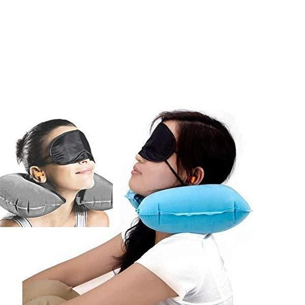 0505 -3-in-1 Air Travel Kit with Pillow, Ear Buds & Eye Mask - Bulkysellers.com