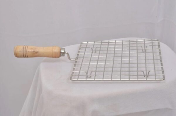 2086 Kitchen Square Stainless Steel Roaster Papad Jali, Barbecue Grill with Wooden Handle - Bulkysellers.com