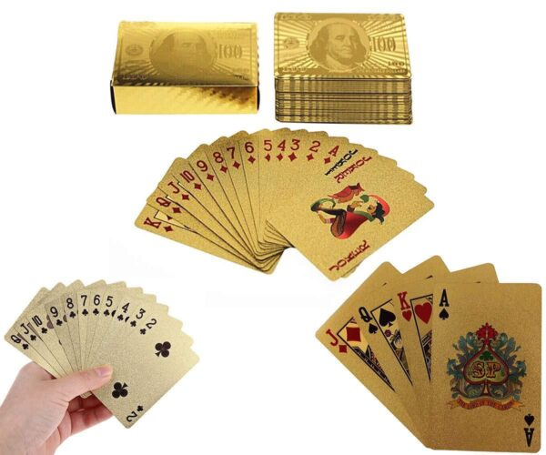 0523 Gold Plated Poker Playing Cards (Golden) - Bulkysellers.com