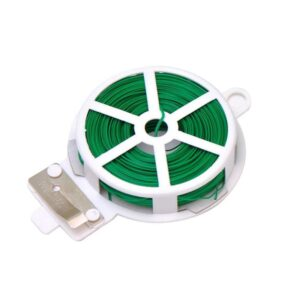 0873 Plastic Twist Tie Wire Spool With Cutter For Garden Yard Plant 50m (Green) - Bulkysellers.com