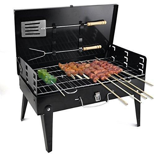 0125 Stainless Steel Briefcase Style Barbecue Grill Toaster (Medium, Black) - Bulkysellers.com