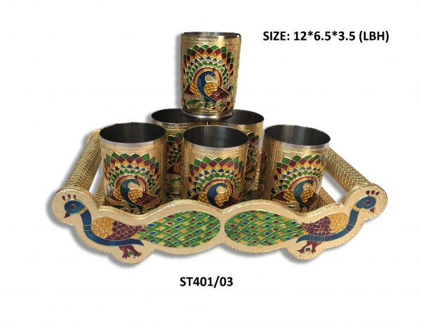 2125 Peacock Design Glass with Handle and Handicraft Serving Tray Set - Bulkysellers.com