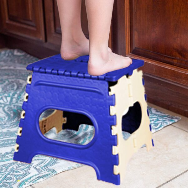 2009_12 Inch Plastic Folding Step Stool for Kids and Adults with Handle (Multicolor) - Bulkysellers.com