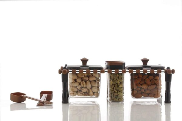2174 Multipurpose Rajwadi Style Spice & Pickle Jar Set 4 Containers with 2 spoons - Bulkysellers.com