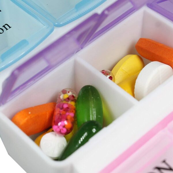 0383 Pill Case- 4 Row 28 Squares Weekly 7 Days Tablet Box Holder Medicine Storage Organizer Container - Bulkysellers.com