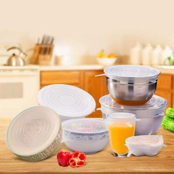 2154 Silicone Stretch Lids Reuseable Microwave Safe Flexible Covers (Set of 6) (Loose Pack) - Bulkysellers.com