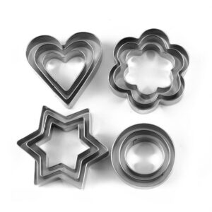 0813 Cookie Cutter Stainless Steel Cookie Cutter with Shape Heart Round Star and Flower (12 Pieces) - Bulkysellers.com