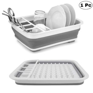 0804 Collapsible Folding Silicone Dish Drying Drainer Rack with Spoon Fork Knife Storage Holder - Bulkysellers.com