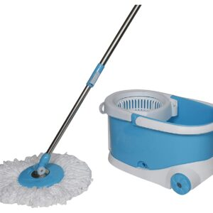 1268  Heavy Duty Microfiber Spin Mop with Plastic Bucket - Bulkysellers.com