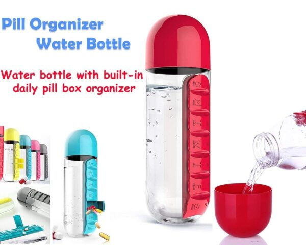 0365 -7 Days Pill Tablet Medicine Organizer with Water Bottle 600ml - Bulkysellers.com