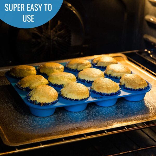 3316 Silicone Cupcake Muffin Mould Microwave Safe Nonstick 12 Cups Muffin Pan Chocolate Baking Tray for House and Bakery  25.6x19.1 inch (Multicolor) - Bulkysellers.com