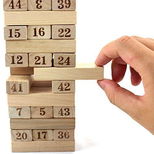 3903 54 Pieces Wooden Stacking Tower Numbers Building Blocks Game Board for Kids - Bulkysellers.com