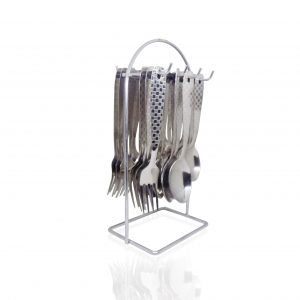 2095 Stainless Steel Cutlery Set with Stand - Pack of 24(Silver) - Bulkysellers.com