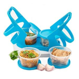 0170 Lunch Box (200 ml each Container) with Attractive Stand - 4 pcs - Bulkysellers.com