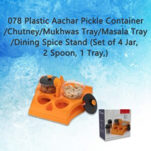 0078 Plastic Aachar Pickle Container/Chutney/Mukhwas Tray/Masala Tray/Dining Spice Stand (Set of 4 Jar, 2 Spoon, 1 Tray,) - Bulkysellers.com