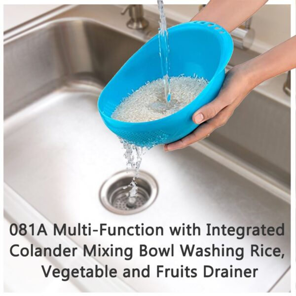 0081A Multi-Function with Integrated Colander Mixing Bowl Washing Rice, Vegetable and Fruits Drainer Bowl-Size: 21x17x8.5cm - Bulkysellers.com