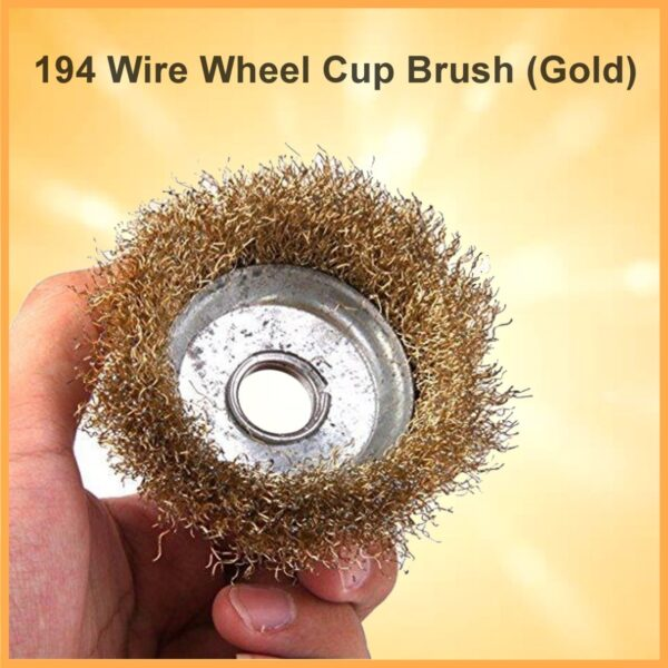 0194 Wire Wheel Cup Brush (Gold) - Bulkysellers.com