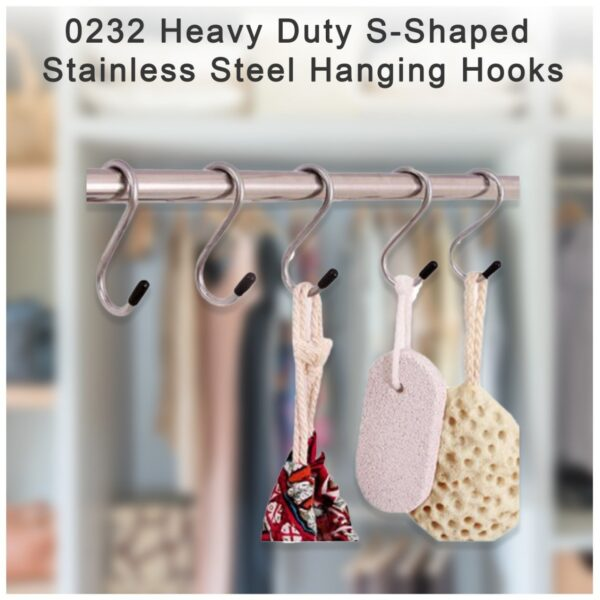 0232 Heavy Duty S-Shaped Stainless Steel Hanging Hooks - 5 pcs - Bulkysellers.com