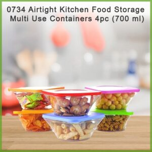 0734 Airtight Kitchen Food Storage Multi Use Containers 4pc (700 ml) - Bulkysellers.com