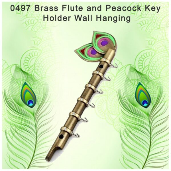 0497 Brass Flute and Peacock Key Holder Wall Hanging - Bulkysellers.com