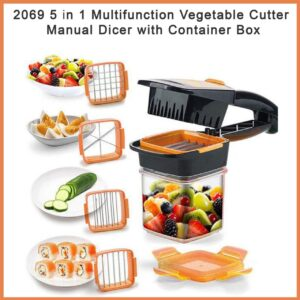2069 5 in 1 Multifunction Vegetable Cutter Manual Dicer with Container Box - Bulkysellers.com