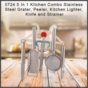 0724 5 In 1 Kitchen Combo - Stainless Steel Grater, Peeler, Kitchen Lighter, Knife and Strainer - Bulkysellers.com