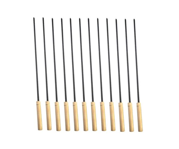 2228 Barbecue Skewers for BBQ Tandoor and Gril with Wooden Handle - Pack of 12 - Bulkysellers.com