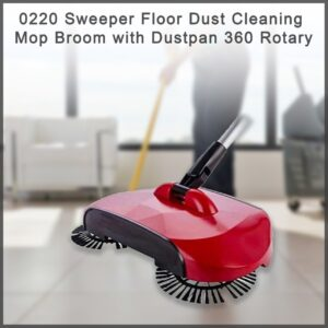 0220 Sweeper Floor Dust Cleaning Mop Broom with Dustpan 360 Rotary - Bulkysellers.com