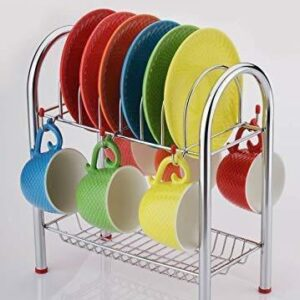 0746_Stainless Steel 2 Layer Plate & Bowl Stand Kitchen Utensil Rack/Cutlery Stand - Bulkysellers.com