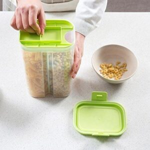 2146 Plastic 2 Sections Air Tight Transparent Food Grain Cereal Storage Container (2 ltr) (With Box) - Bulkysellers.com