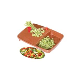 2103 Thick Plastic Kitchen Chopping Cutting Slicing Tray with Holder - Bulkysellers.com