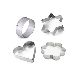 0827 Cookie Cutter Stainless Steel Cookie Cutter with Shape Heart Round Star and Flower (4 Pieces) - Bulkysellers.com