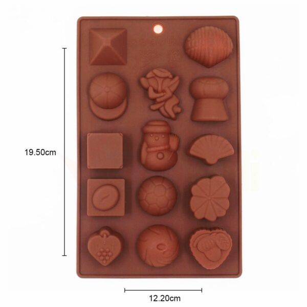 3502 Silicone Chocolate Molds Reusable Multi Shape 14 Cavity Candy Baking Mold (Brown, 8-inch) Pack of 1 - Bulkysellers.com